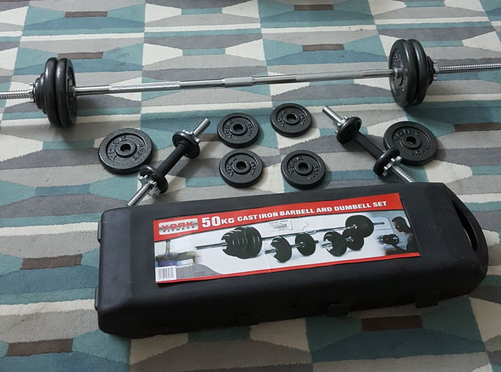 York Stainless Iron Barbell and Dumbbell Set