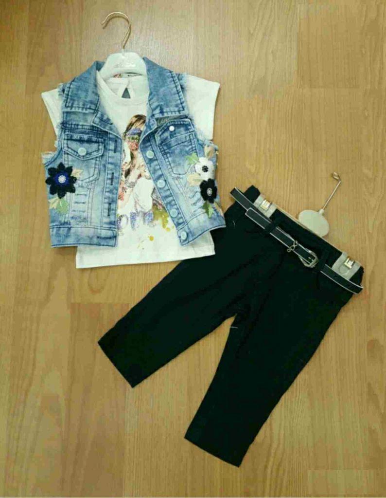 Ensemble veste en jean + T shirt + Pantacourt