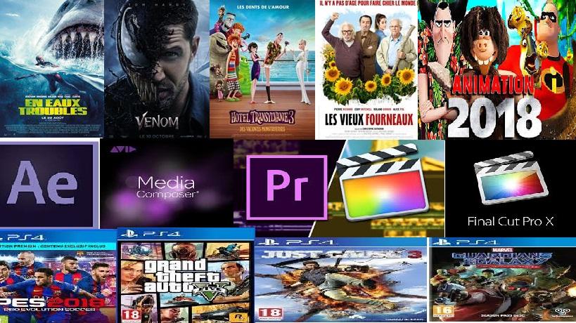 Films, séries, Animés, logiciels et toutes sortes des jeux consoles et pc