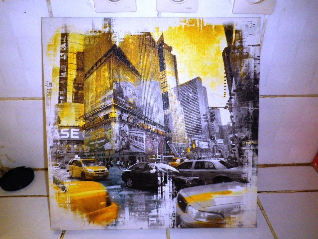 Tableau ville de new york 40x40 djibouti for Tableau piscine