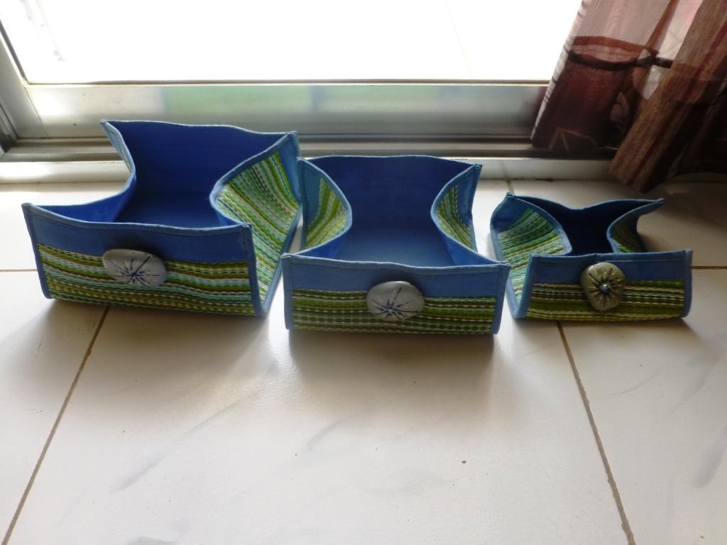 3 boites de rangements artisanal verte bleu de diff rentes tailles france djibouti. Black Bedroom Furniture Sets. Home Design Ideas