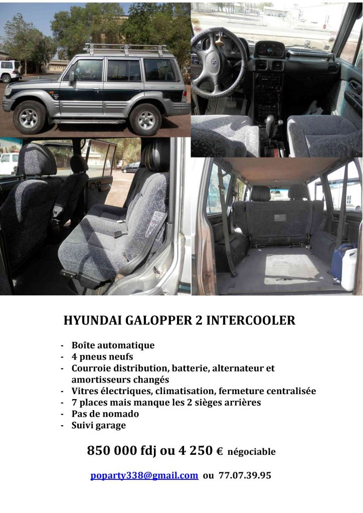 Hyunda galloper 2 intercooler djibouti for Garage ad distribution