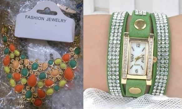 montre en bracelet vert + collier multicolor