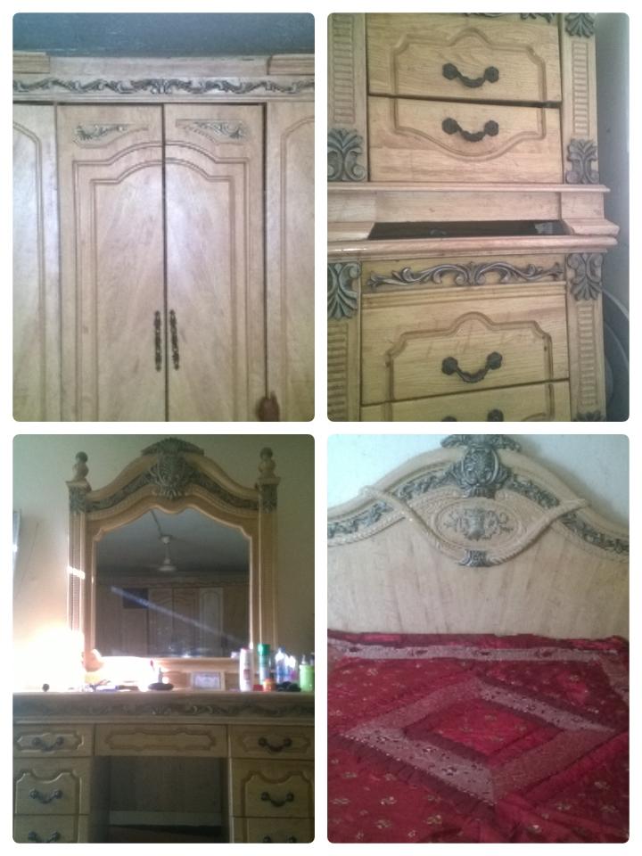 Lit , armoire et toilette