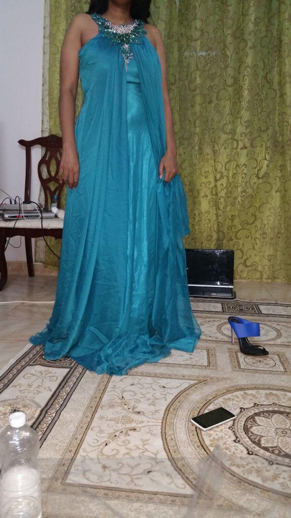 robe de soiree bleu turquoise