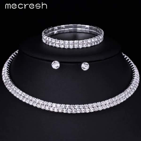 NOUVEAU Collier+boucles d'oreilles+bracelet en crystal