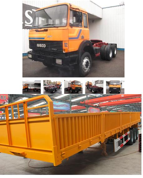 tracteur poids lourd iveco 330-30 6x4 turbostar et remorque trois axes