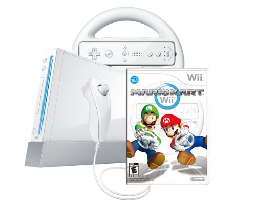 Wii Console with Mario Kart Wii