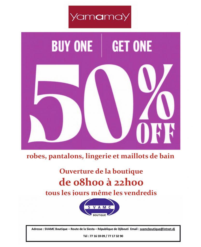 SVAMC Boutique : -50% Robes, pantalons, lingerie de marque Yamamay